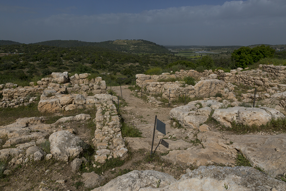 Shaaraim-Khirbet Qeiyafa_West Gate looking west toward Azekah
